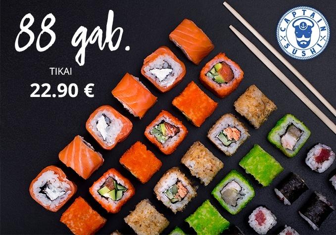 88 gab. suši komplekts no CAPTAIN SUSHI